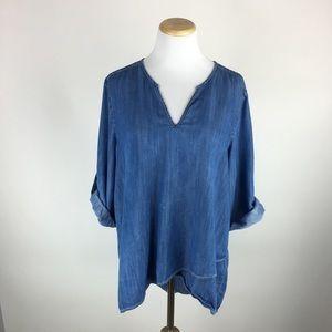 Karen Kane soft denim blouse Sz XL